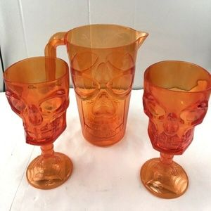 Orange Skull Pitcher and two goblets New Halloween